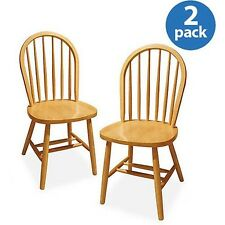 Windsor Chair Set of 2 Natural Color Finish New Free Shipping