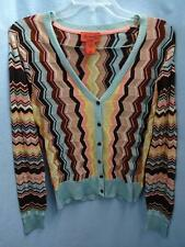 MISSONI FOR TARGET RAYON MULTI-COLOR ZIG ZAG WAVE SPRING CARDIGAN SWEATER S MINT