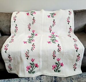 Cottagecore Ivory Pink Floral Handmade Tunisian Crochet Afghan Throw Blanket