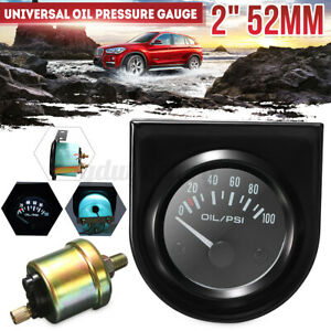 """2"""" 52mm Universal Car Pointer Oil Pressure Gauge 0-100 PSI White LED Light"""