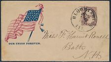 """1861 CIVIL WAR PATRIOTIC COVER FLAG """"OUR UNION FOREVER"""" BLOOMINGTON, ILL BS2539"""