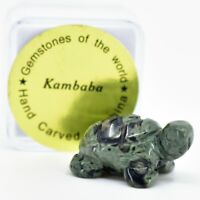 Kambaba Jasper Gemstone Tiny Miniature Turtle Figurine Hand Carved in China