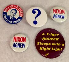 Collectible Political METAL BUTTONS 5 Total NIXON Agnew Wallace Hoover NICE