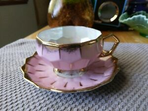 Pink Honeycomb Vtg Royal Sealy Iridescent Gold Handle &  Footed Tea Cup & Saucer