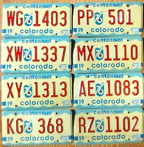Eight 1975 1976 Colorado Plates Number Tag Plate Lot
