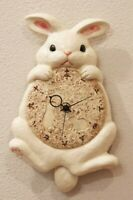Japanese Porcelain Wagging Rabbit Tail Wall Clock From Japan with Tracking