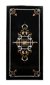 Rectangular Black Console Marble Table Top Handmade Pietra Dura Marquetry H503