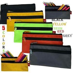 2 Zip Pencil Case Triple Pocket Colourful Teenager School Bags