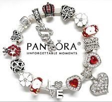 Authentic Pandora Charm Bracelet White Heart & Red Valentine European Beads..NIB