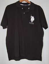 US Polo Assn Mens Black Shirt Large White Pony XL Short Sleeve Collar U.S. Polo