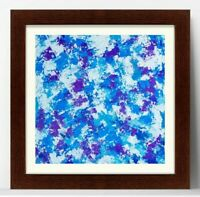 Abstract Square Oil Painting Vibrant Impasto Modern Blue White Violet Wall Art
