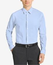 $185 CALVIN KLEIN Men SLIM-FIT BLUE NON-IRON LONG-SLEEVE DRESS SHIRT 15 34/35 M