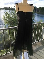 Dress, Black by Amanda Adams Couture Med, Silk, Embellished, Beads Crystals NWT