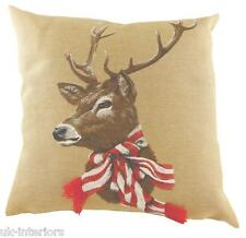 """18"""" STAG Scarf Red White Belgian Tapestry Cushion deer Evans Lichfield LC485"""