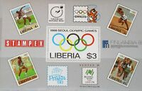 LIBERIA 1988 Block 114 S/S 1081 Summer Olympics Seoul Stamp on Stamp MNH