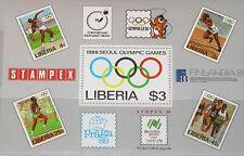 LIBERIA 1988 Block 114 S/S 1081 Summer Olympics Seoul Stamp on Stamp MNH