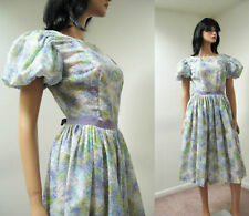 Vintage 50s Purple Blue Cotton Floral Party Dress S Semi Sheer Short Puff Sleeve