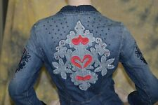 OILILY adorable HEARTS blue DENIM blazer JACKET coat S 34