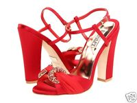 NIB Badgley Mischka JEWELED evening  sandals open toe ankle strap shoes  RED 9,5