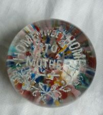 Vintage Paperweight Rare Home Sweet Home To Mother Colorful Early Collectable
