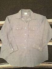 VTG 60s 70s Penneys Big Mac 2XL Penn Prest Blue Chambray Denim Work Shirt.