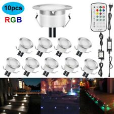 10Pcs LED Light Disk Deck Outdoor Stair RGB In-ground Lamp Yard Patio Garden