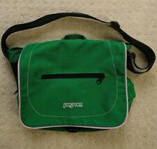 Jansport Messenger Shoulder Bag w/ Flap Green Pink Trim