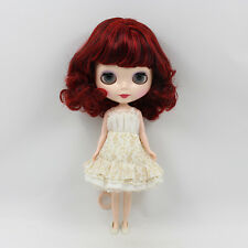 """12"""" Neo Nude Wine Red Short Hair Blythe doll From Factory JSW51001"""