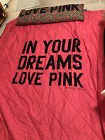 "Victoria Secret Pink Queen Comforter W/Body Pillow ""In Your Dreams"" leopard/rose"