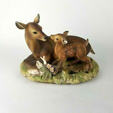 1979 Deer Fawn and Doe Masterpiece Porcelain Hand Painted Home Interiors Homco