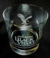 "Vintage Black Velvet Whiskey ""On the Rocks"" Wildlife Set Glass Etched W/ Eagle"