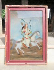 Antique Old Mughal King With Horse Hand Painted Glass Fine Miniature Painting