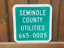 "Rare Vintage Metal Seminole County Utilities Sign 12"" by 12"" Florida Very Cool"