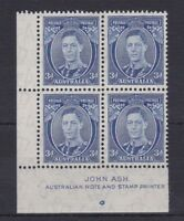 APD176) Australia 1938 3d Blue Die II Thin paper Ash Imprint Block ACSC 194Aza