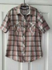 M & CO PINK / GREY WESTERN CHECK SHIRT SIZE 16