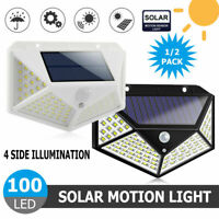 100 LED Solar Powered Light Outdoor Motion Sensor Wall Yard Spa Garden Lamps USA