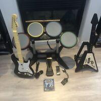 PS3 Rock Band Bundle Complete TESTED w/ 2 Guitars, Dongle, Drums, Mic, and Game