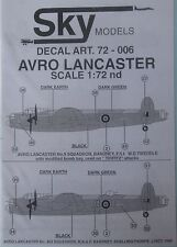 Skymodels 1/72 72006 Avro Lancaster DECAL set