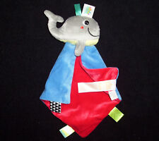 Taggies Bright Starts Red Blue Whale Rattle Baby Blanket Lovey