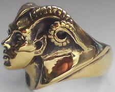Bronze Lady Aries Ram Biker Ring Custom Sized MC Zodiac Goat Occult R-151b