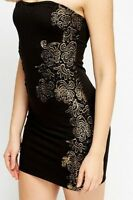 NEW UK size 8/10 by KILIBBI Embroidered Bandeau Bodycon Dress BLACK & GOLD BNWT