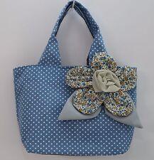 "NEW Cute Woman Medium Handmade Denim Canvas Handbag 4.5""x 8""x 9.5"" -----15"