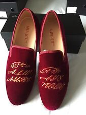 "Merlutti Handmade Velvet Loafers Embroidered ""Always Ambitious"" Size 9M US/"