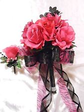 23 Piece Package Wedding Bridal Bouquets Silk Flowers Hot Pink Fushsia Black