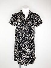 Banana Republic Short Sleeve Dress Tan Black Leaf Linen Blend Popover Size 4