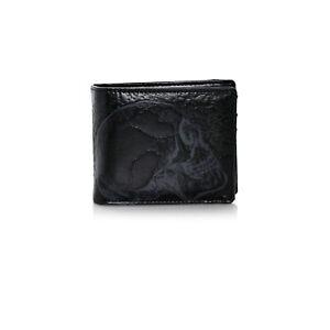 Shagwear Skull Men's Faux Leather Bi-Fold Wallet, Black