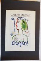 Marc Chagall The Artist As A Phoenix  Mourlot  Poster Lithograph 9.5 x 12.5 1975