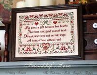 Friendship's Love, ,antique sampler style,chart(6pg) block,symbols
