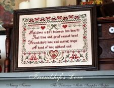 Friendship's Love, ,antique sampler style,chart(6pg) block,symbols