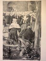 Adolphe Gumery gravure Lithographie Lithograph Procession Bretonne Bretagne